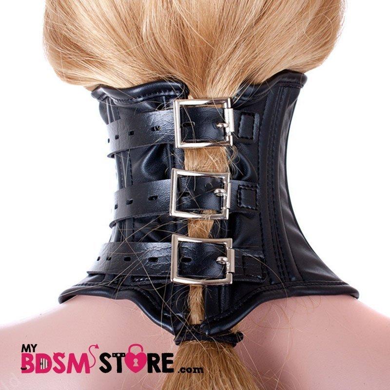 Corset de Cuello Alto Collar de postura para Bondage y Fetish triple Cierre con Hebilla Candado Posterior