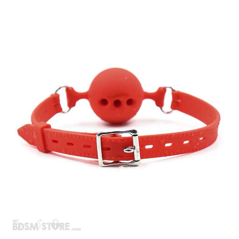 Mordaza de Bola de Silicona con Agujeros Ajustable BDSM Fetish Gagball bondage Roja cierre