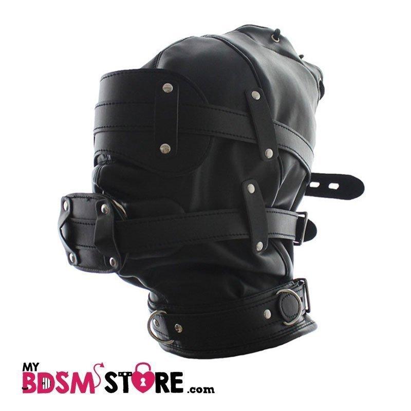 Máscara de privación sensorial con mordaza pene de panel forma de pene ( penis panel gag) para bdsm y fetish