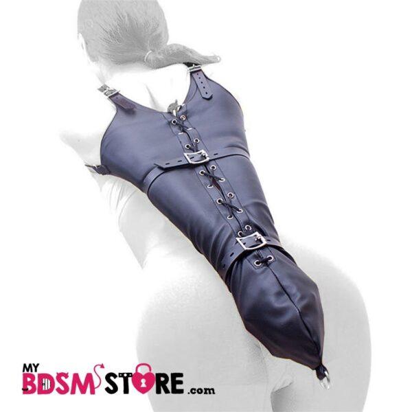 Armbinder de doble correa para bondage y bdsm bondage fetish restricción de cuero para brazos