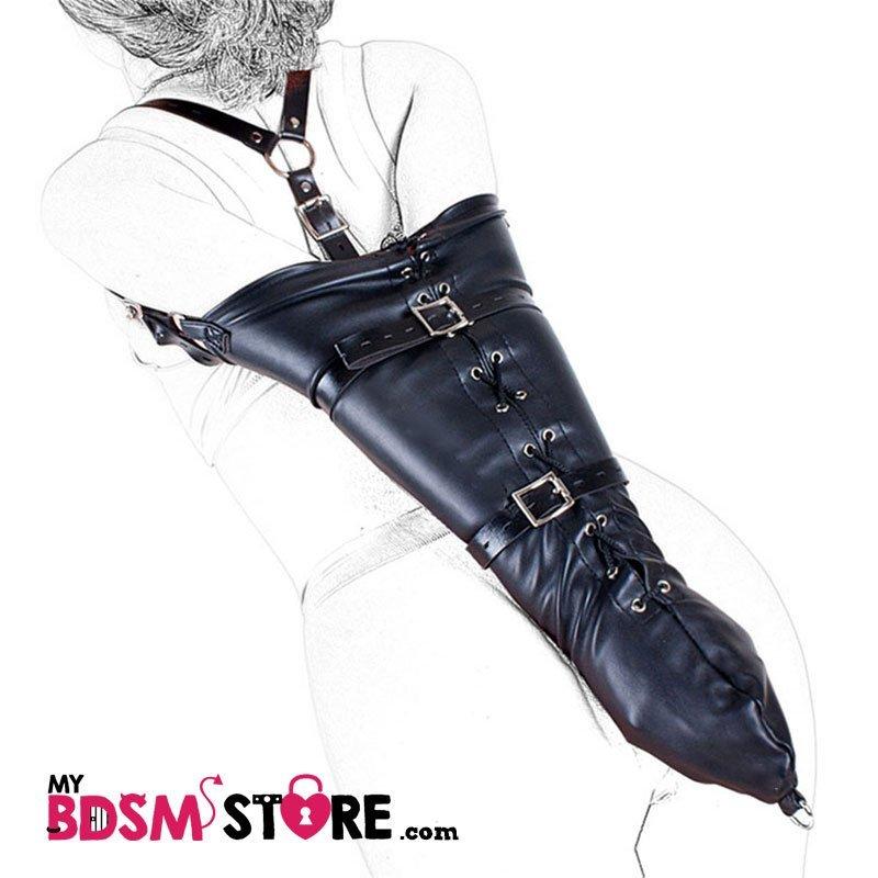 Armbinder tira central corset de brazos bdsm fetish bondage juegos de restricción y sexo detalle negro