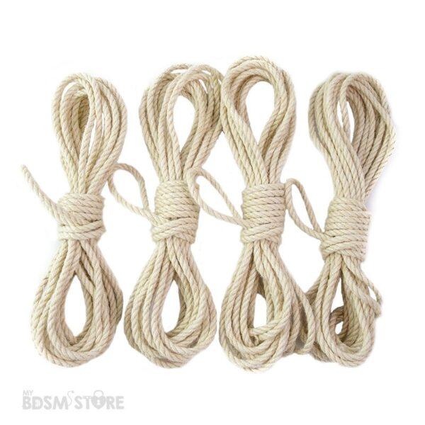 Cuerda de Yute o jute para Shibari y Kinbaku de 5mm y 6mm bondage color blanco para teñir