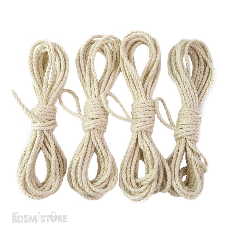 Set de 4 Cuerda de Yute o jute para Shibari y Kinbaku de 5mm y 6mm bondage color blanco para teñir