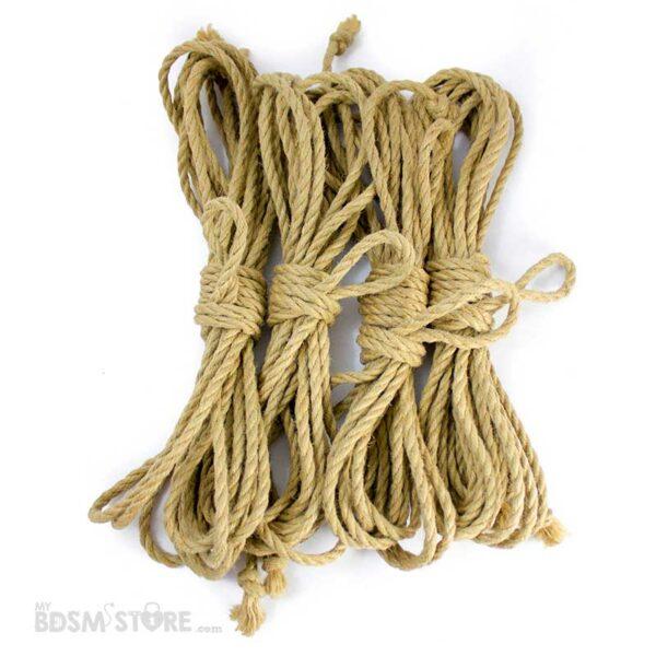 Juego de 4 Cuerdas de yute para Shibari y Kinbaku con trenzado de alta calidad y resistencia de 8 metros y 6mm. Tan fluidas que volarán en tus manos.