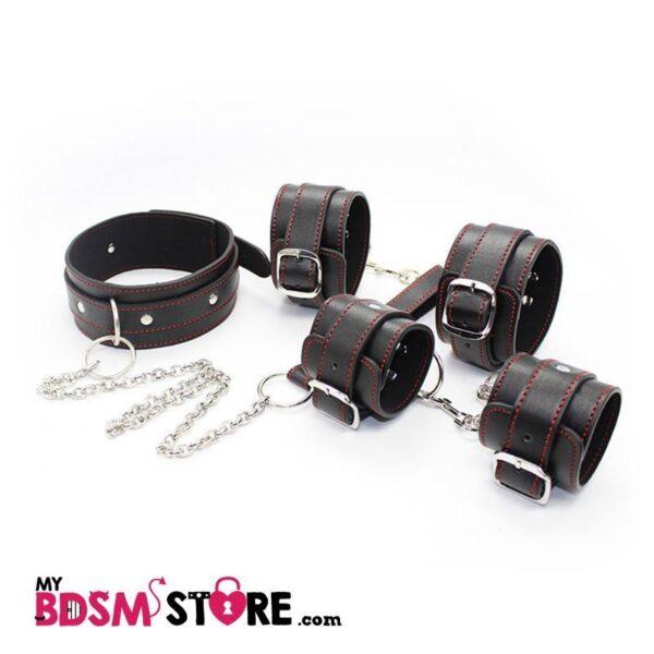 Juego muñequeras y tobilleras con collar y correa de cuero sintetico y bordado rojo kit set para bondage completo