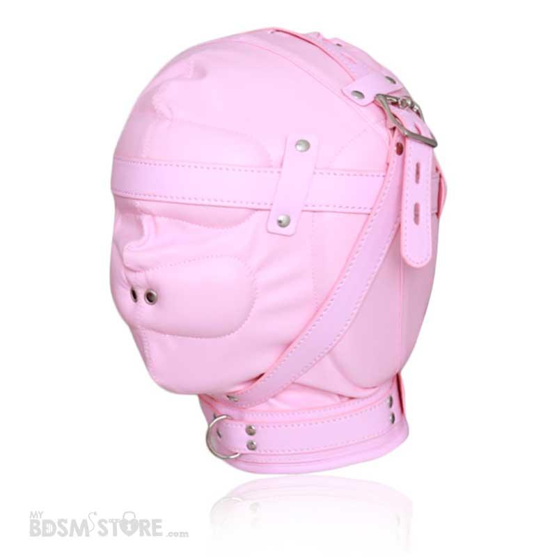 Capucha de cuero sintético rosa de privación sensorial para control de la respiración con hebillas para candado escorzo