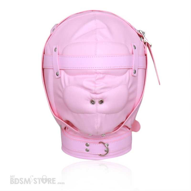 Capucha de cuero sintético rosa de privación sensorial para control de la respiración con hebillas para candado frontal