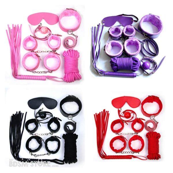Kit de iniciacion al bdsm colores con muñequeras y tobilleras, flogger, collar, correa y mordaza más cuerda de algodón