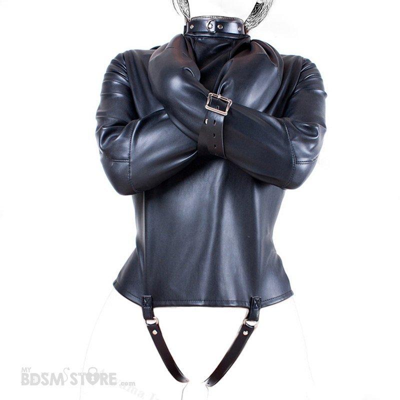 Camisa de Fuerza de Cuero sintético Brazos cruzados al cuello fetish para Bondage y BDSM, Straitjacket