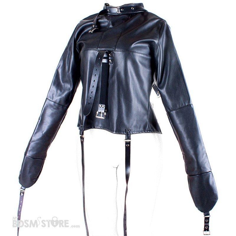 Camisa de Fuerza de Cuero sintético desplegada fetish para Bondage y BDSM, Straitjacket