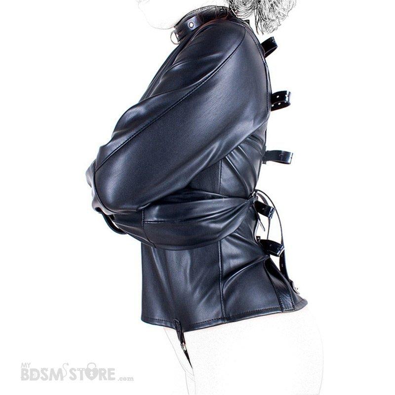 Camisa de Fuerza de Cuero sintético perfil fetish para Bondage y BDSM, Straitjacket