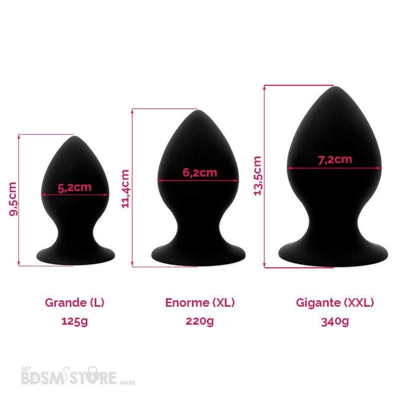 Plug Anal Grande (L), Enorme (XL) y Gigante (XXL) Tamaños