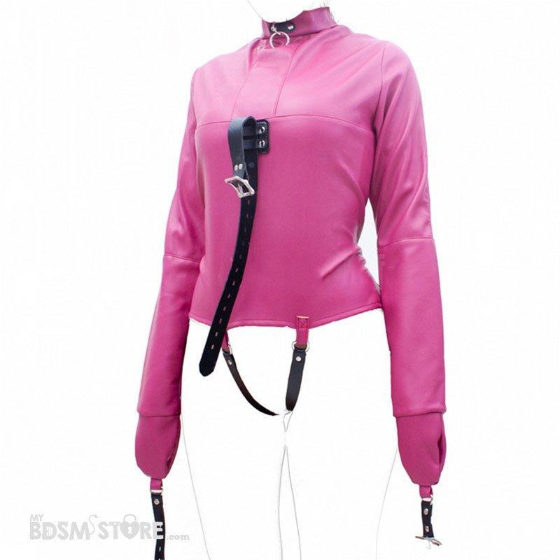 Camisa de fuerza de cuero sintético para bondage y bdsm rosa abierta