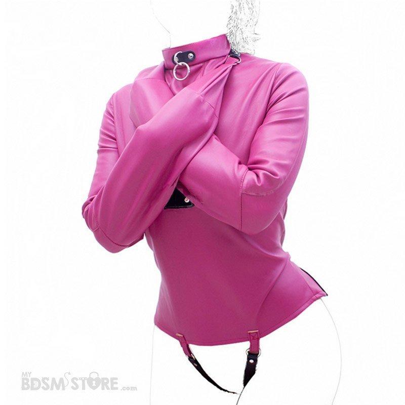 Camisa de fuerza de cuero sintético para bondage y bdsm rosa cruzada