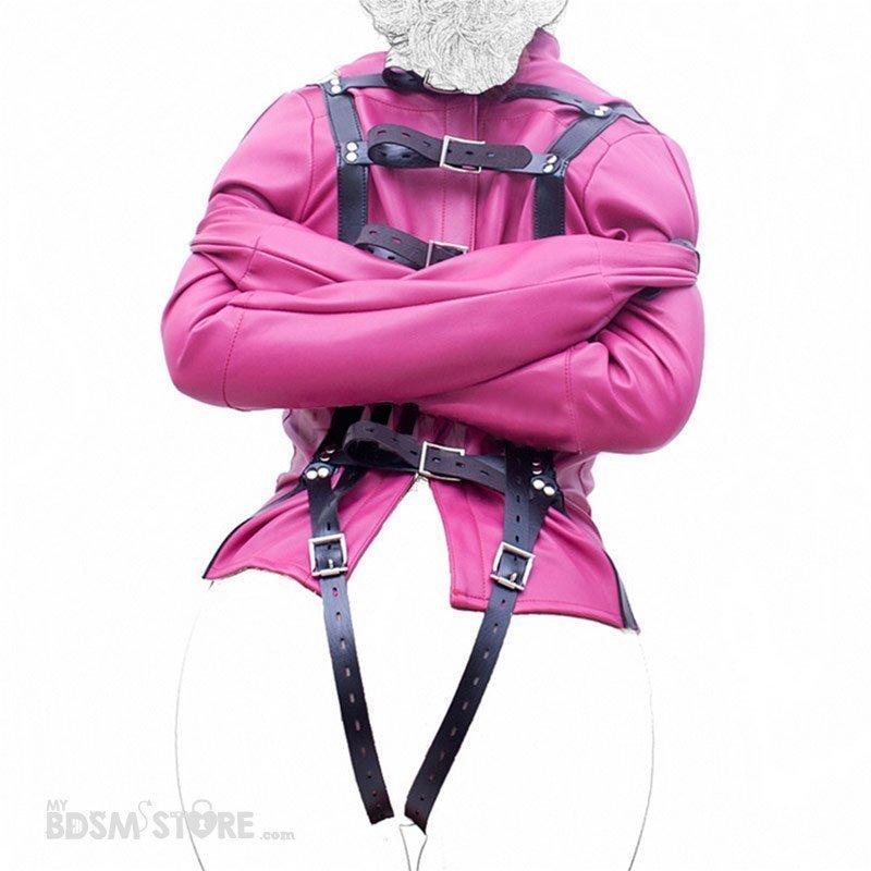 Camisa de fuerza de cuero sintético para bondage y bdsm rosa trasera