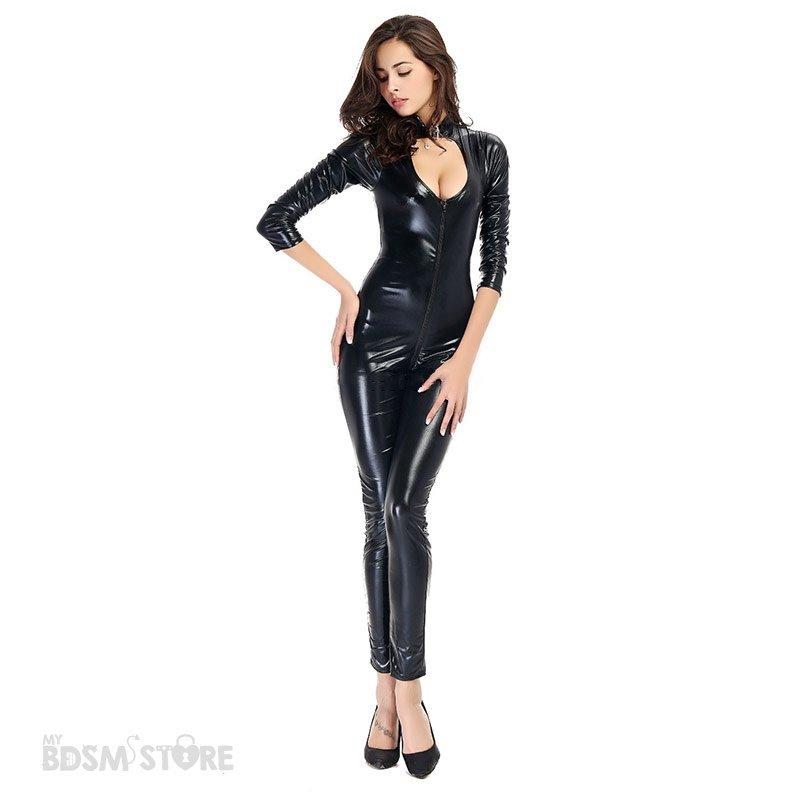 Catsuit de Lycra Brillante con escote y doble cremallera fetish bdsm frontal sexy