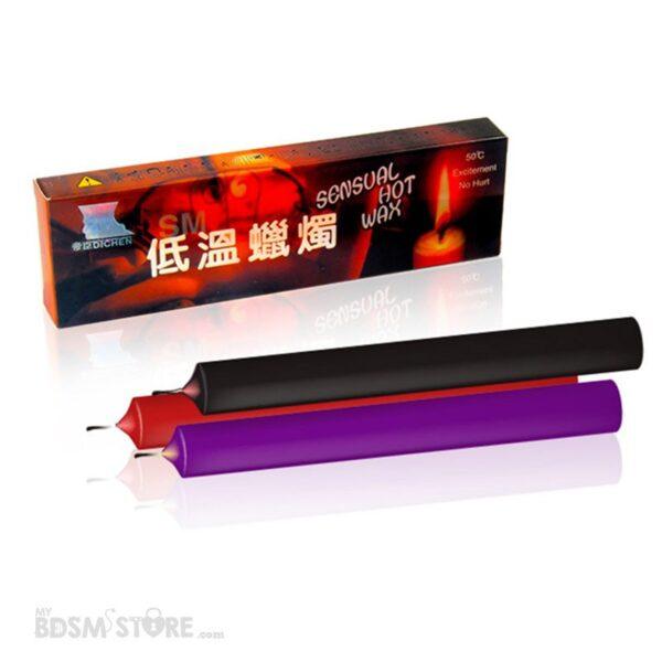 Velas para cera y Waxplay de 3 colores BDSM fetish Negro Morada Roja baja temperatura segura safe low temperature packaging