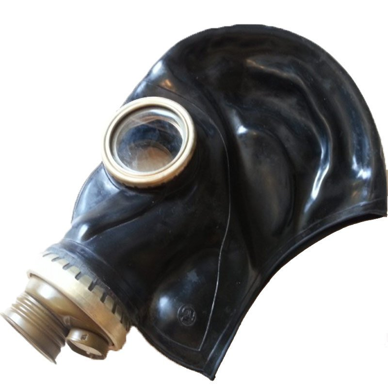 mascara de gas fetish control respiracion breath play sovietica negra lateral 2