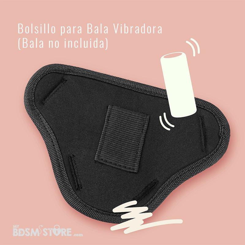 Arnes Strap Strapon Blanco y Negro universal super alta calidad silicona medica maximo placer y textura dildo bala vibradora