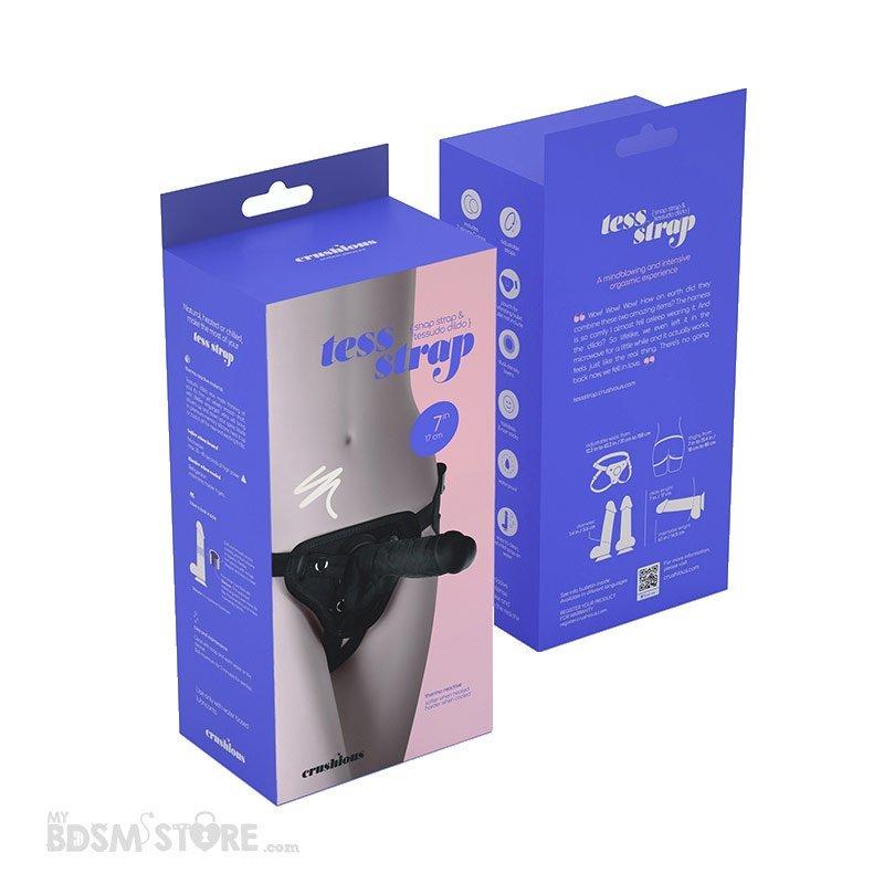 Arnes Strap Strapon Blanco y Negro universal super alta calidad silicona medica maximo placer y textura dildo pene cajas black