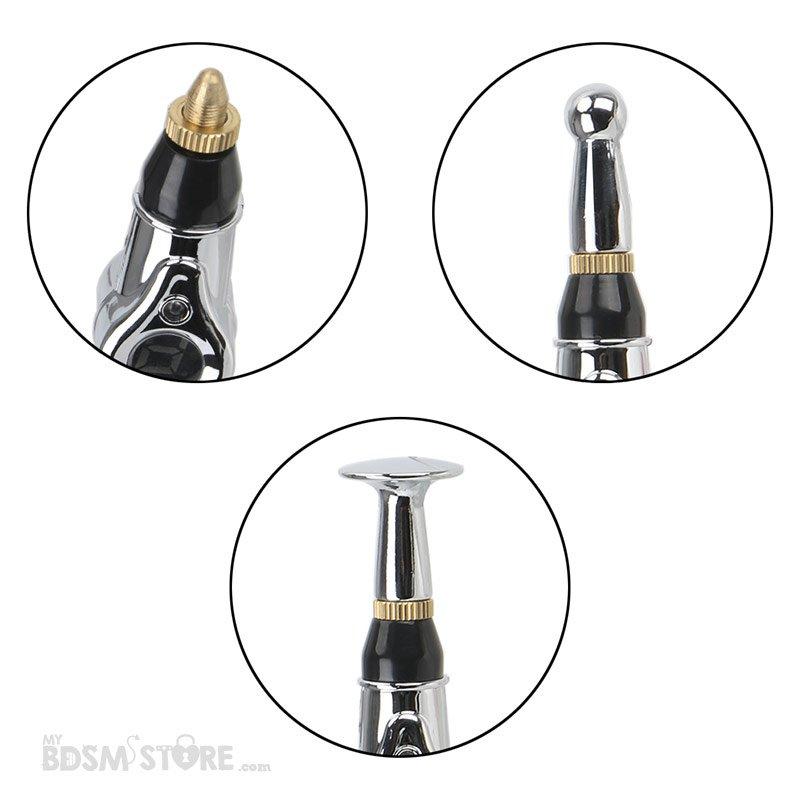 Varita Electrica zapping wand estimulacion sensaciones bdsm sado maso fetish e-stim estim electro estimulacion cabezales detalle