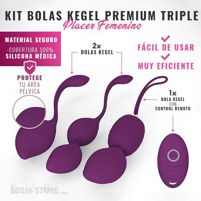 Kit Bolas Kegel Premium Triple Triple kegel ball set ben wa pelvis pelvico vibrador remoto placer mujer control remoto morado